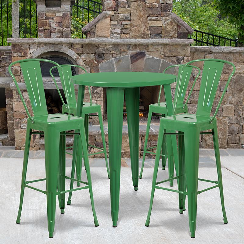 """Commercial Grade 30"""" Round Green Metal Indoor-Outdoor Bar Table Set with 4 Cafe Stools [CH-51090BH-4-30CAFE-GN-GG]. Picture 4"""