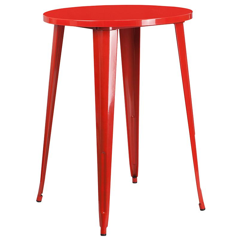 """Commercial Grade 30"""" Round Red Metal Indoor-Outdoor Bar Table Set with 4 Cafe Stools [CH-51090BH-4-30CAFE-RED-GG]. Picture 2"""