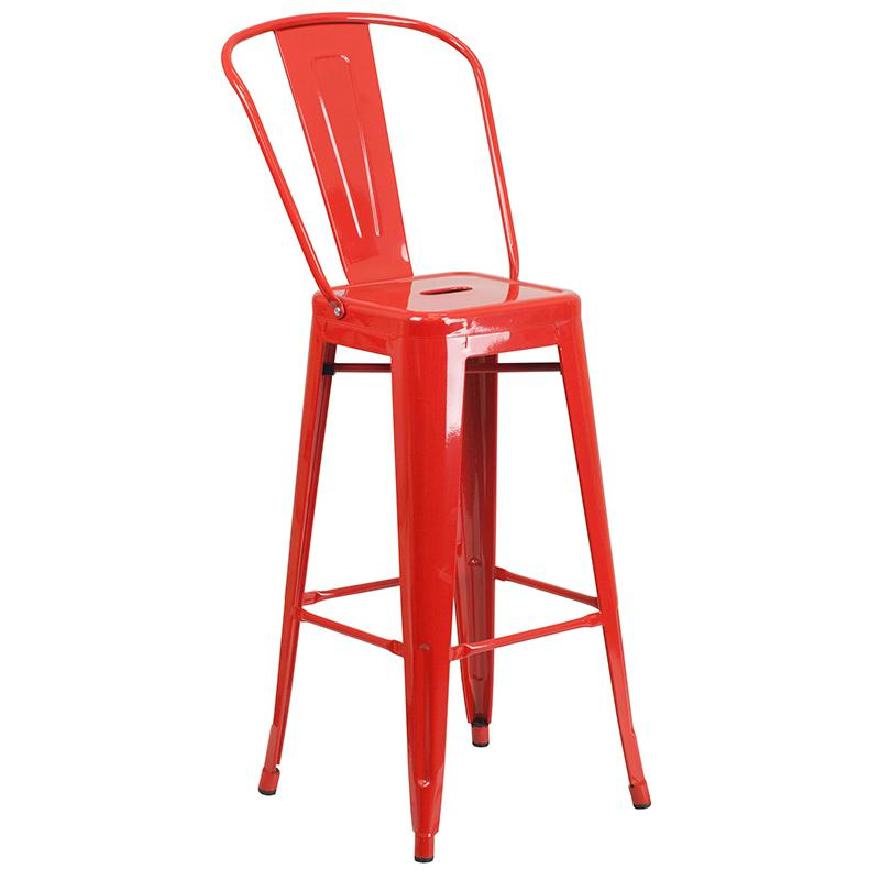 """Commercial Grade 30"""" Round Red Metal Indoor-Outdoor Bar Table Set with 4 Cafe Stools [CH-51090BH-4-30CAFE-RED-GG]. Picture 3"""