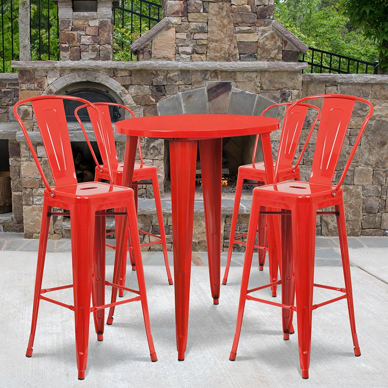 """Commercial Grade 30"""" Round Red Metal Indoor-Outdoor Bar Table Set with 4 Cafe Stools [CH-51090BH-4-30CAFE-RED-GG]. Picture 4"""