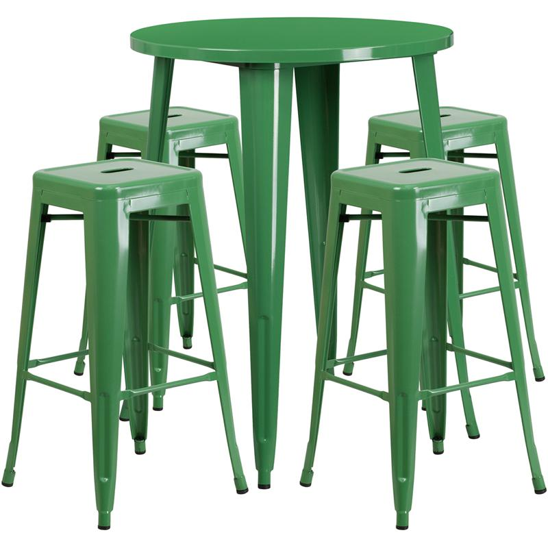 """Commercial Grade 30"""" Round Green Metal Indoor-Outdoor Bar Table Set with 4 Square Seat Backless Stools [CH-51090BH-4-30SQST-GN-GG]. Picture 1"""