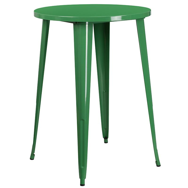"""Commercial Grade 30"""" Round Green Metal Indoor-Outdoor Bar Table Set with 4 Square Seat Backless Stools [CH-51090BH-4-30SQST-GN-GG]. Picture 2"""