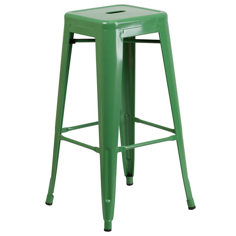 """Commercial Grade 30"""" Round Green Metal Indoor-Outdoor Bar Table Set with 4 Square Seat Backless Stools [CH-51090BH-4-30SQST-GN-GG]. Picture 3"""