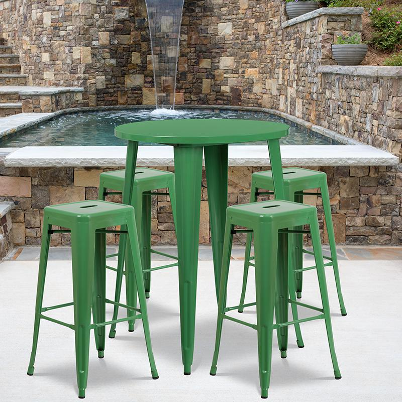 """Commercial Grade 30"""" Round Green Metal Indoor-Outdoor Bar Table Set with 4 Square Seat Backless Stools [CH-51090BH-4-30SQST-GN-GG]. Picture 4"""