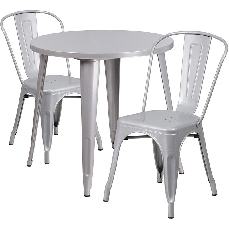"""Commercial Grade 30"""" Round Silver Metal Indoor-Outdoor Table Set with 2 Cafe Chairs [CH-51090TH-2-18CAFE-SIL-GG]. Picture 1"""