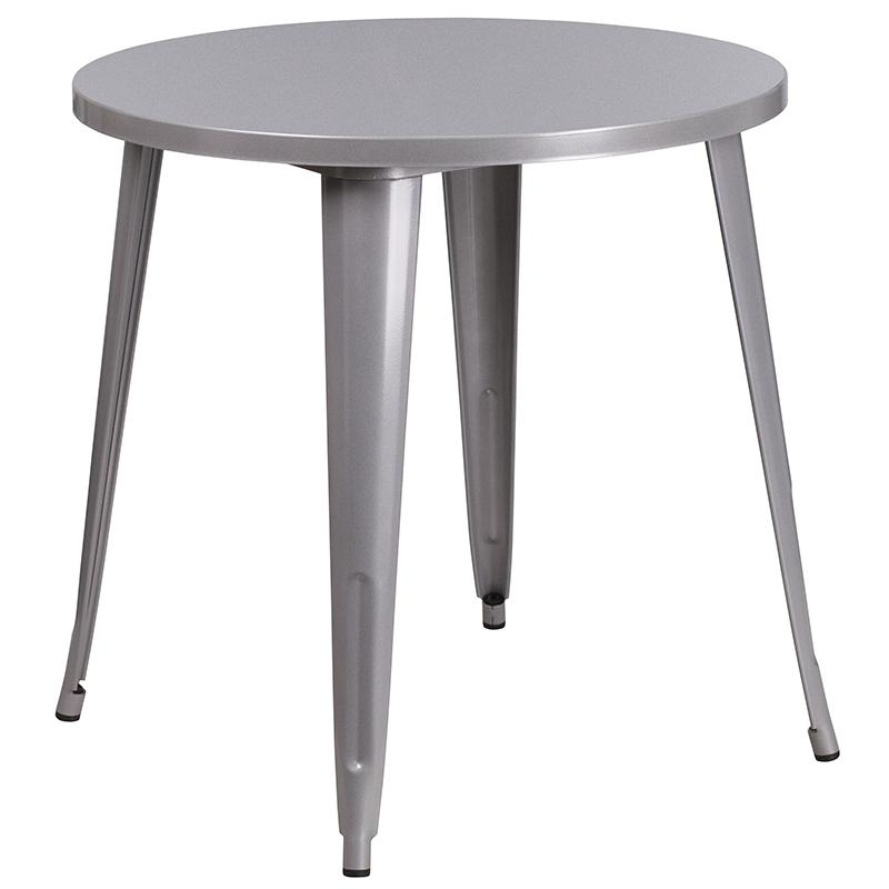 """Commercial Grade 30"""" Round Silver Metal Indoor-Outdoor Table Set with 2 Cafe Chairs [CH-51090TH-2-18CAFE-SIL-GG]. Picture 2"""