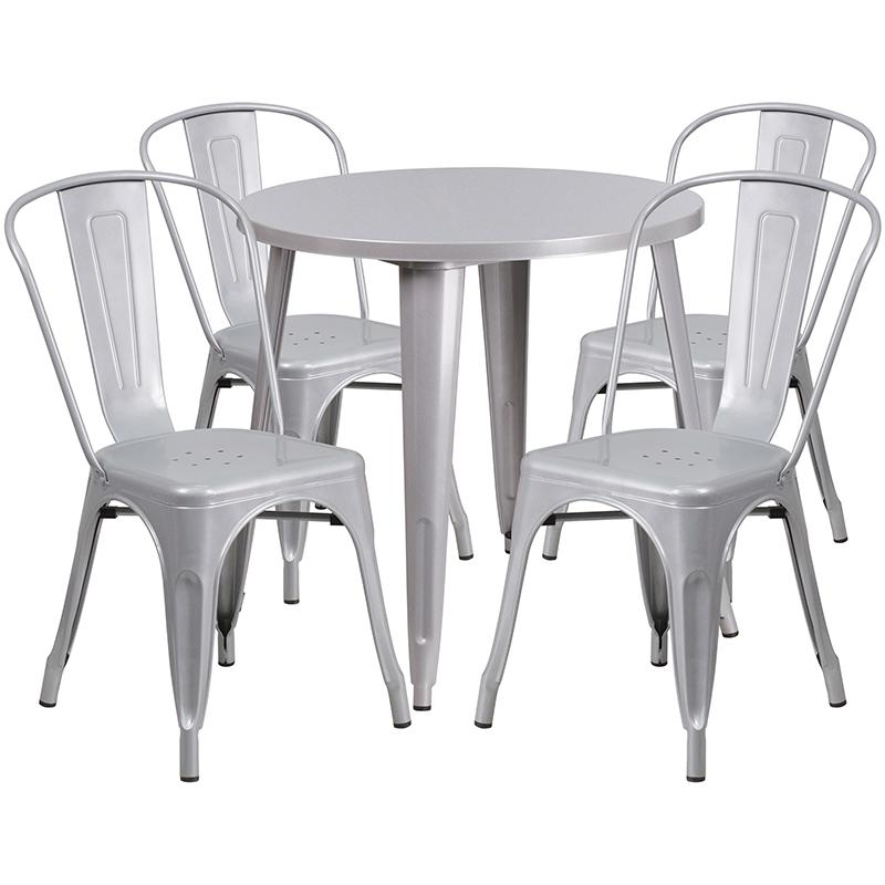 """Commercial Grade 30"""" Round Silver Metal Indoor-Outdoor Table Set with 4 Cafe Chairs [CH-51090TH-4-18CAFE-SIL-GG]. Picture 1"""