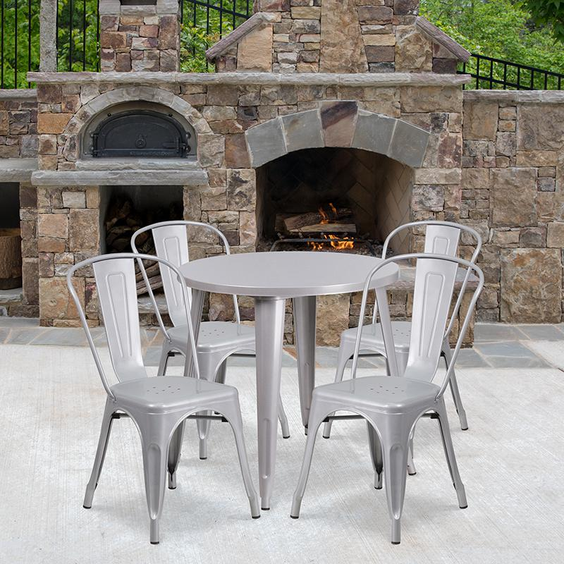 """Commercial Grade 30"""" Round Silver Metal Indoor-Outdoor Table Set with 4 Cafe Chairs [CH-51090TH-4-18CAFE-SIL-GG]. Picture 4"""