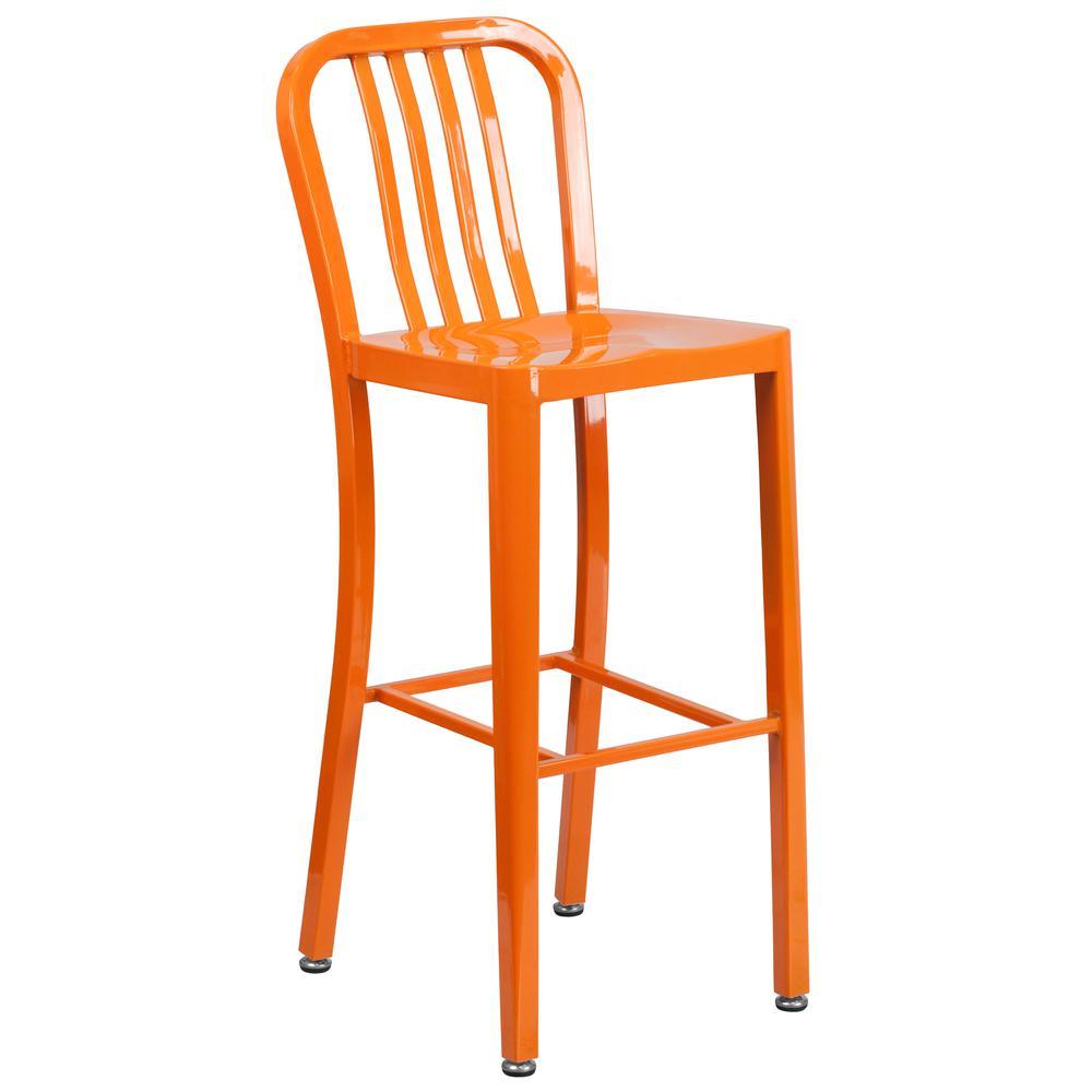 30 High Orange Metal Indoor Outdoor Barstool With