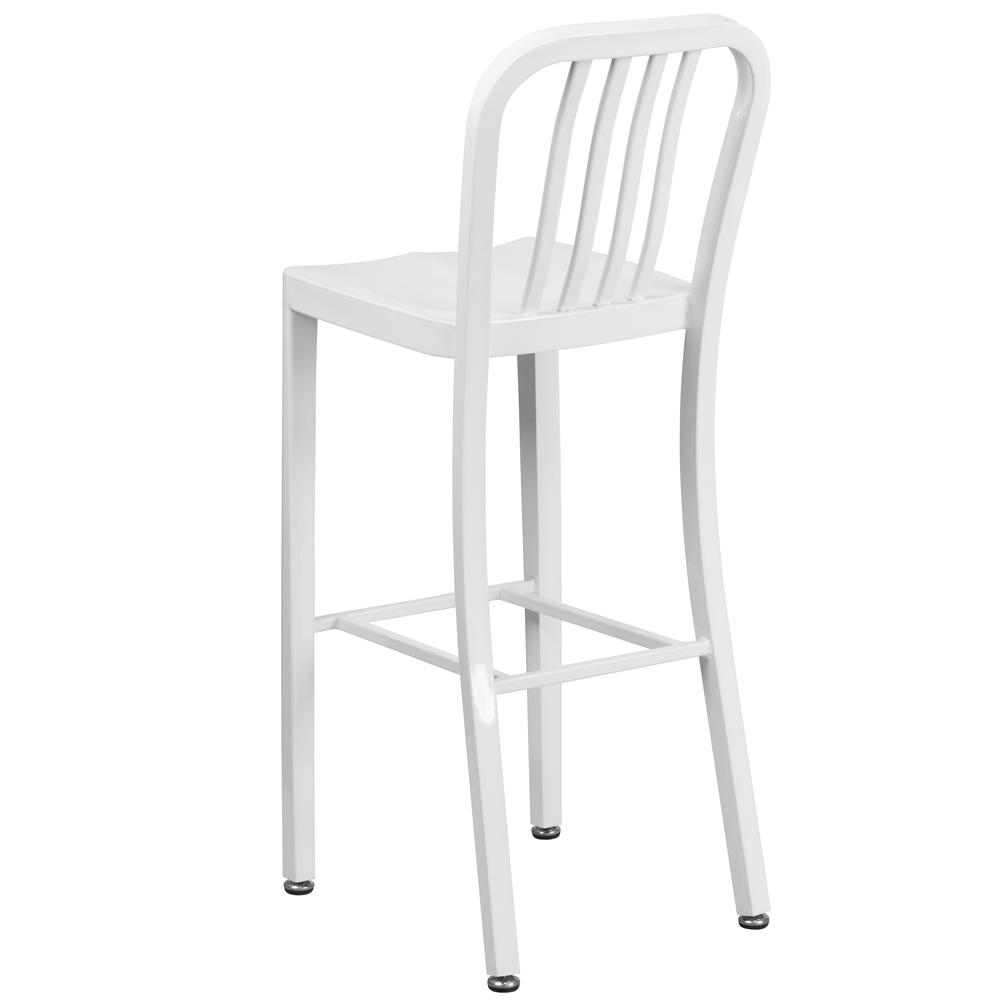 30 High White Metal Indoor Outdoor Barstool With