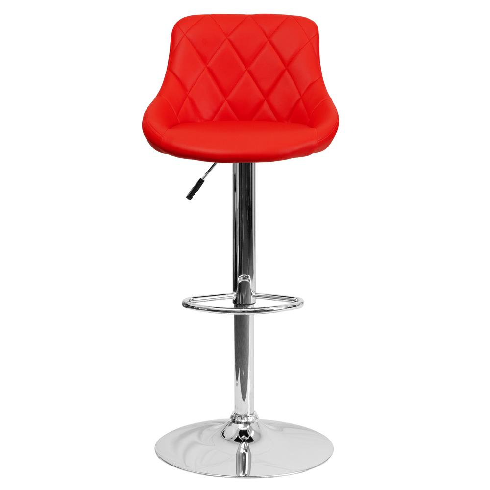 Contemporary Red Vinyl Bucket Seat Adjustable Height Barstool with Diamond Pattern Back and Chrome Base. Picture 4