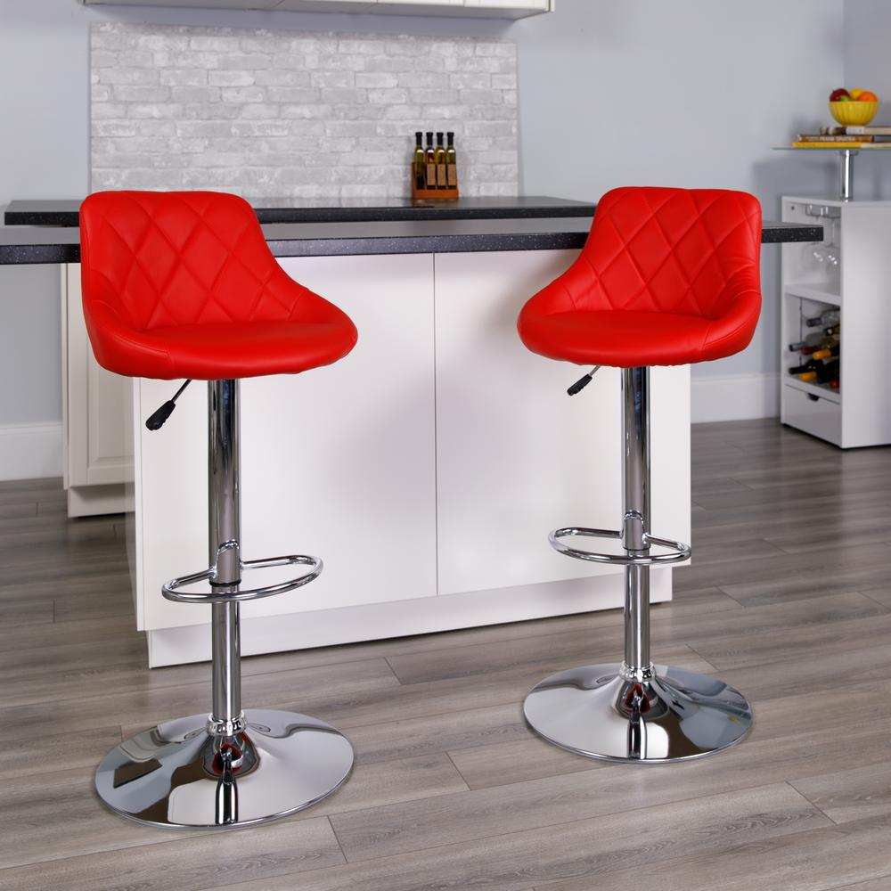 Contemporary Red Vinyl Bucket Seat Adjustable Height Barstool with Diamond Pattern Back and Chrome Base. Picture 5