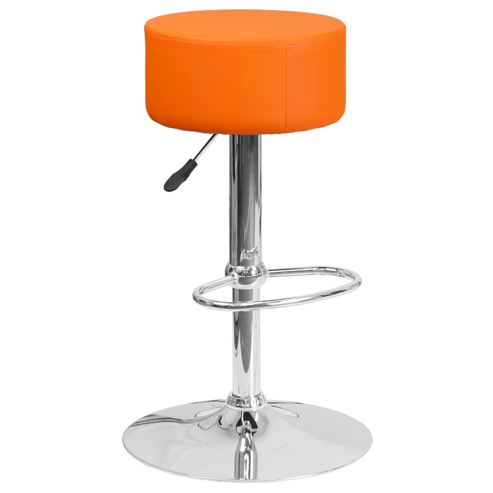 Contemporary Orange Vinyl Adjustable Height Barstool with Round Seat and Chrome Base. Picture 1