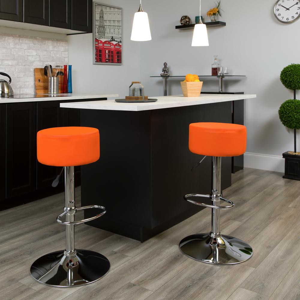 Contemporary Orange Vinyl Adjustable Height Barstool with Round Seat and Chrome Base. Picture 2