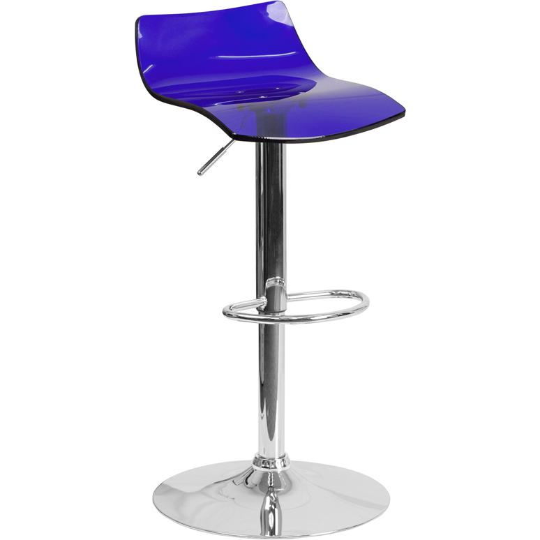 Contemporary Transparent Blue Acrylic Adjustable Height