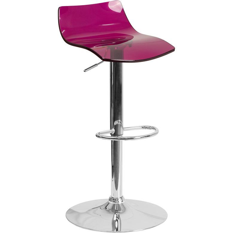 Contemporary Transparent Purple Acrylic Adjustable Height