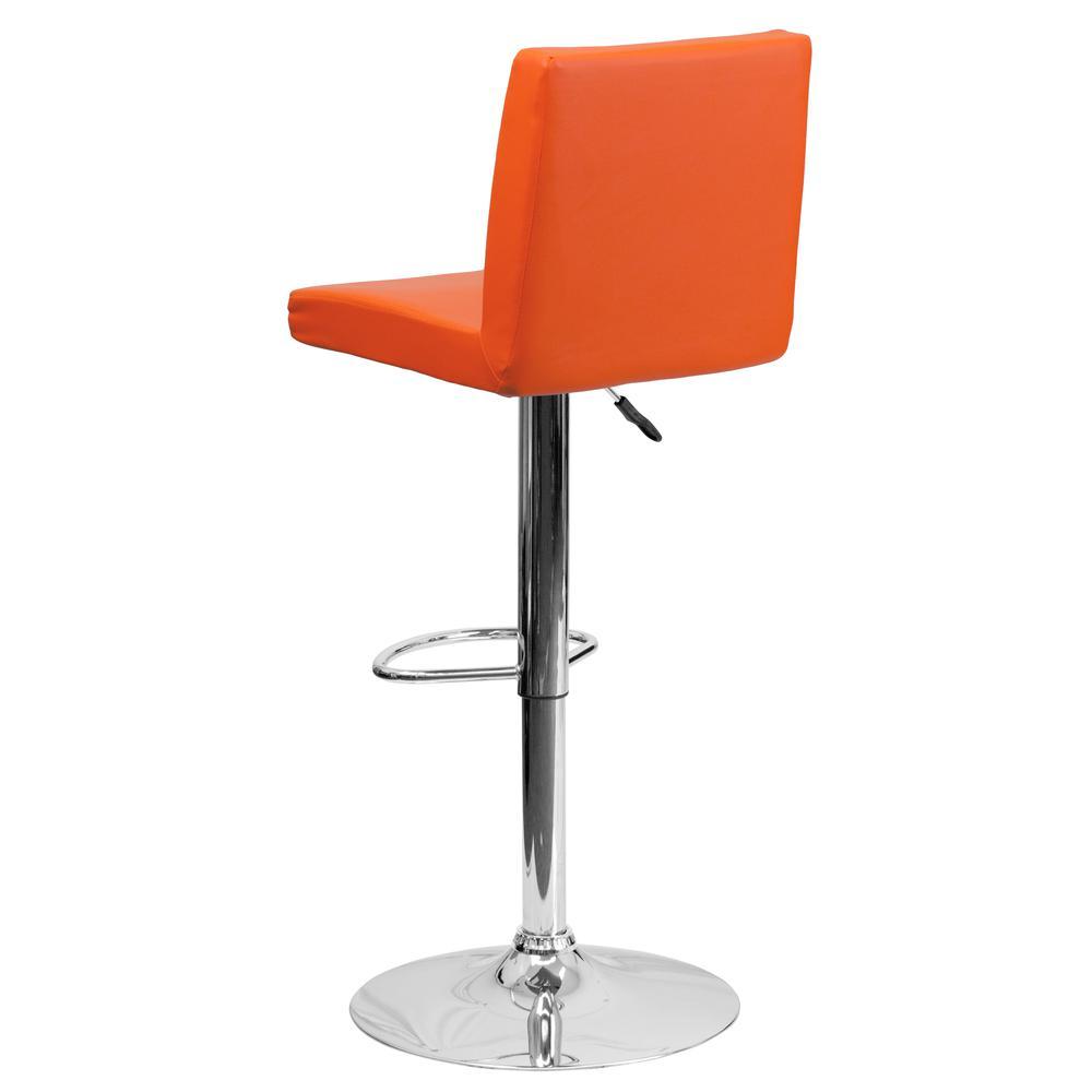 Contemporary Orange Vinyl Adjustable Height Barstool With