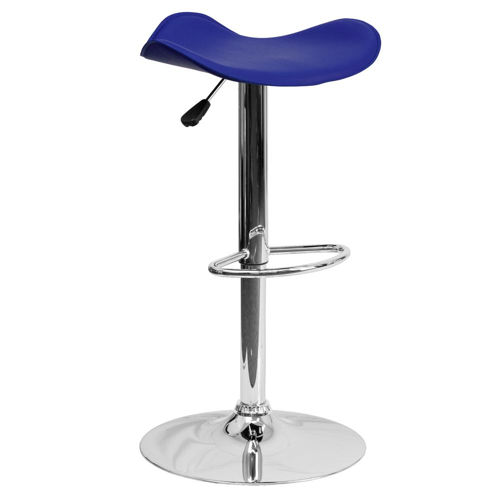 Contemporary Blue Vinyl Adjustable Height Barstool with Wavy Seat and Chrome Base. Picture 1