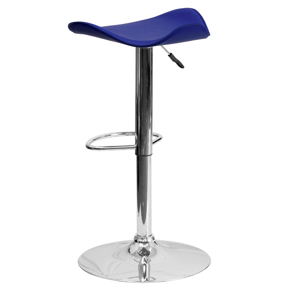 Contemporary Blue Vinyl Adjustable Height Barstool with Wavy Seat and Chrome Base. Picture 3