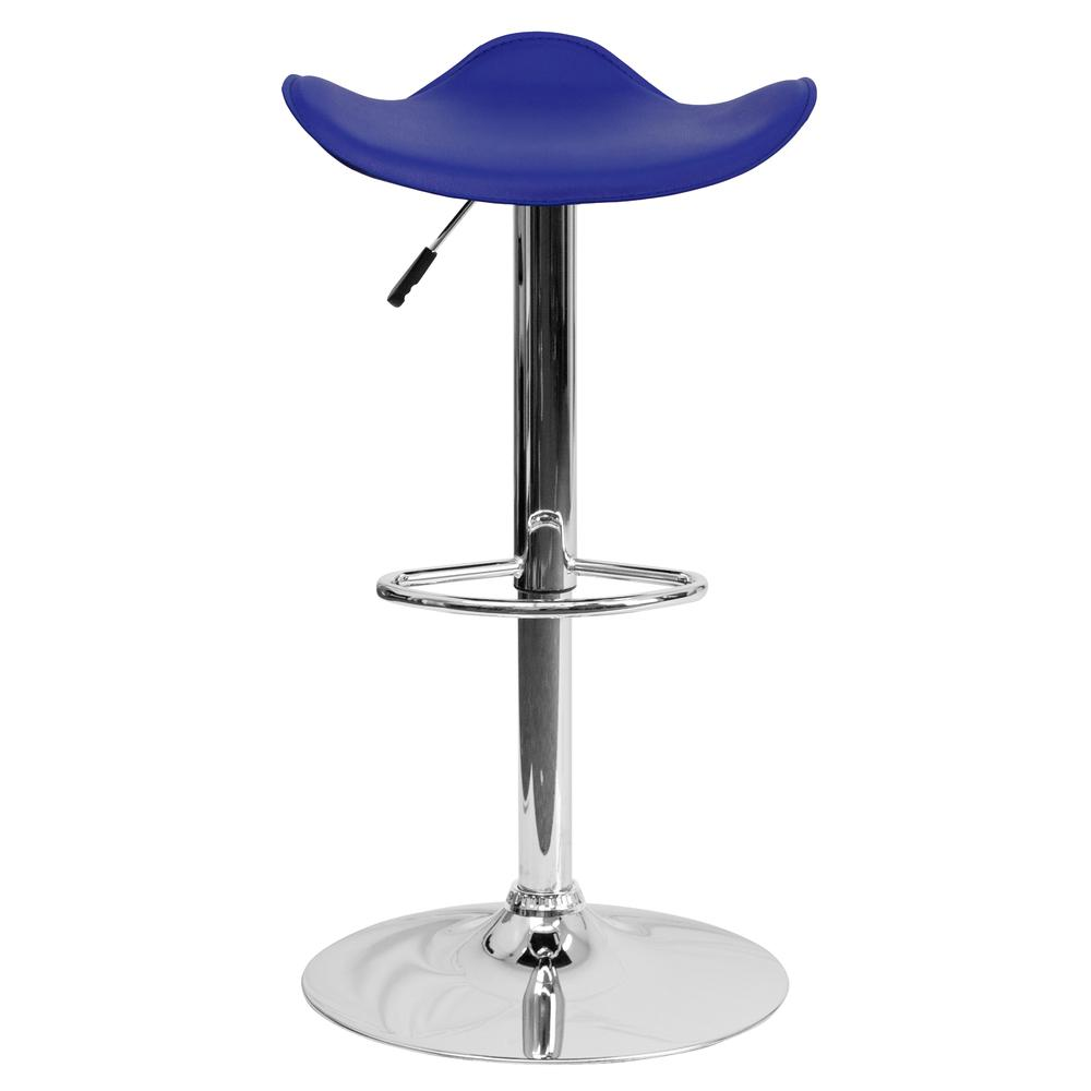 Contemporary Blue Vinyl Adjustable Height Barstool with Wavy Seat and Chrome Base. Picture 4