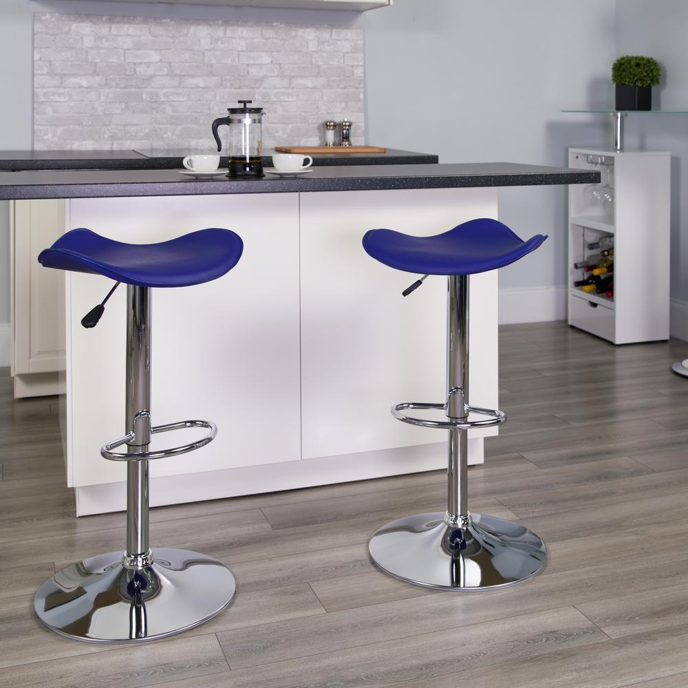 Contemporary Blue Vinyl Adjustable Height Barstool with Wavy Seat and Chrome Base. Picture 5