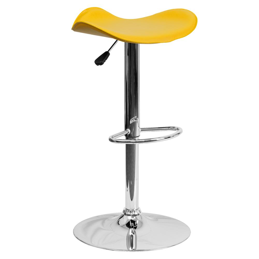 Contemporary Yellow Vinyl Adjustable Height Barstool with Wavy Seat and Chrome Base. Picture 1