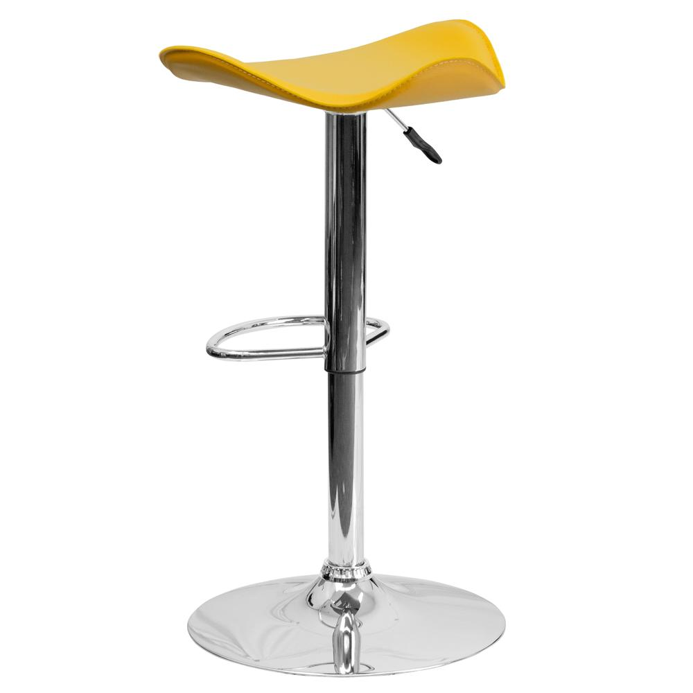 Contemporary Yellow Vinyl Adjustable Height Barstool with Wavy Seat and Chrome Base. Picture 3