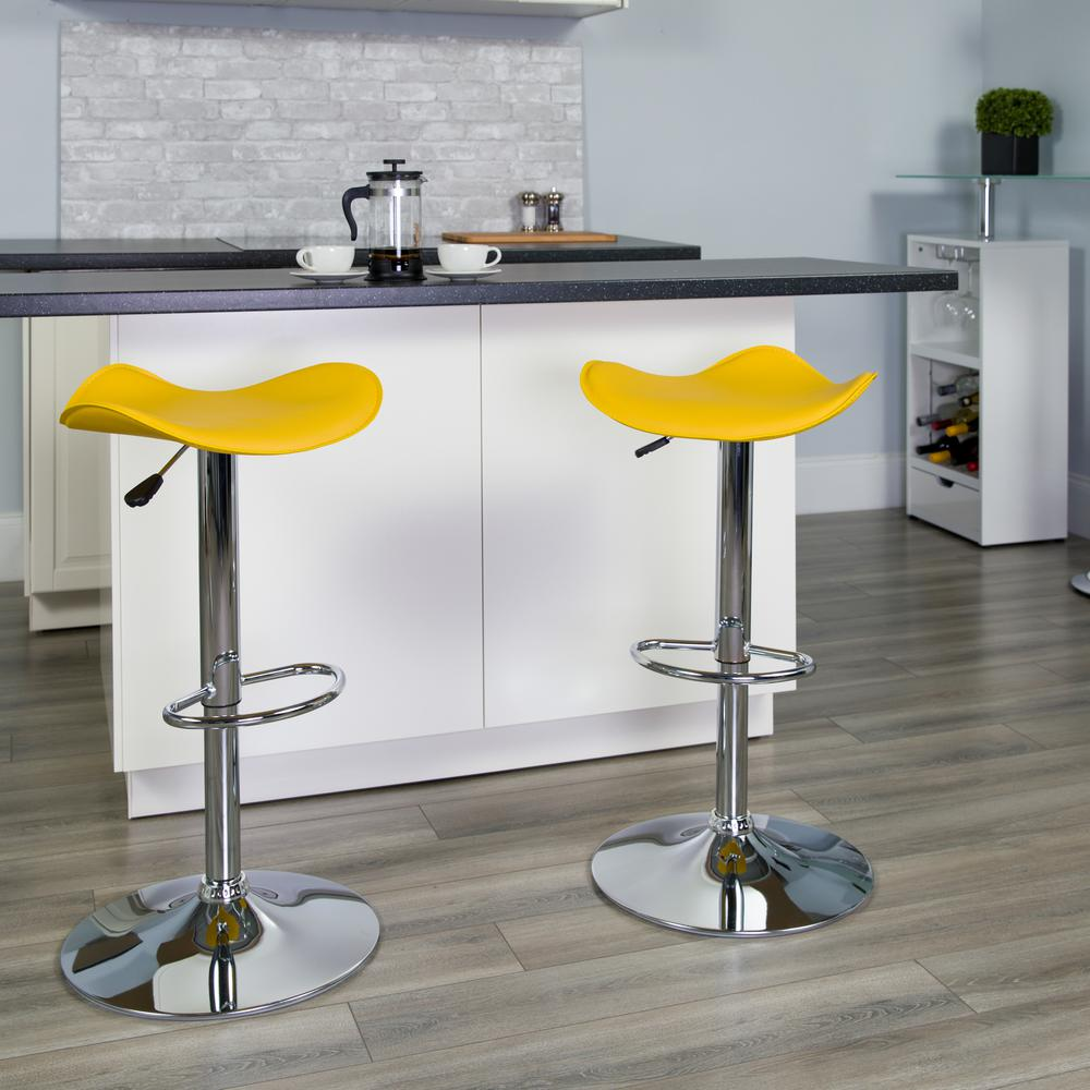 Contemporary Yellow Vinyl Adjustable Height Barstool with Wavy Seat and Chrome Base. Picture 5