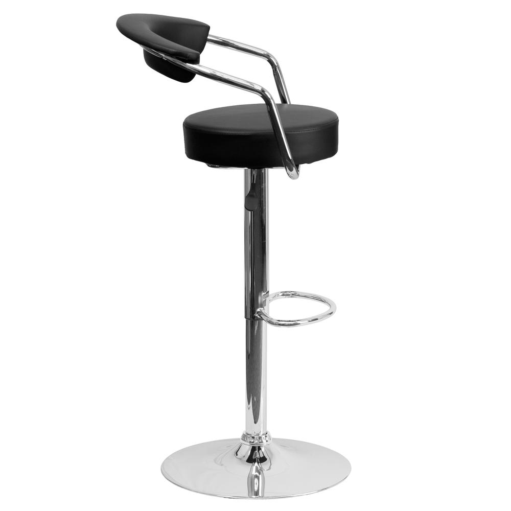 Contemporary Black Vinyl Adjustable Height Barstool with Arms and Chrome Base. Picture 2