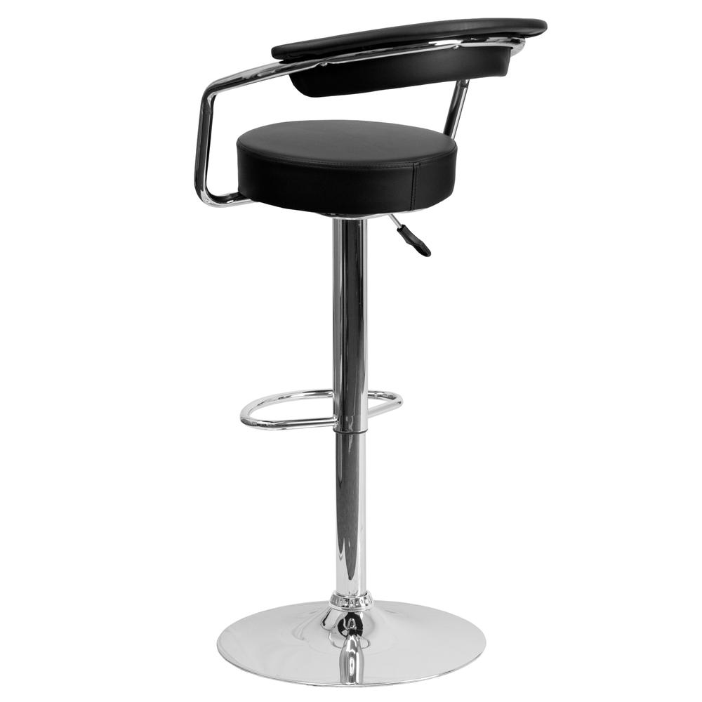 Contemporary Black Vinyl Adjustable Height Barstool with Arms and Chrome Base. Picture 3