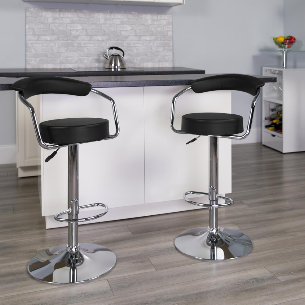 Contemporary Black Vinyl Adjustable Height Barstool with Arms and Chrome Base. Picture 5