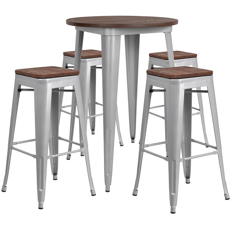 """30"""" Round Silver Metal Bar Table Set with Wood Top and 4 Backless Stools. Picture 1"""