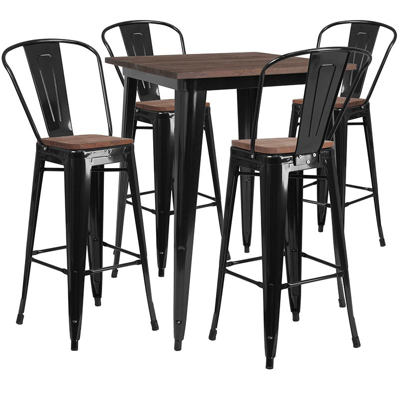 "31.5"" Square Black Metal Bar Table Set with Wood Top and 4 Stools. Picture 1"