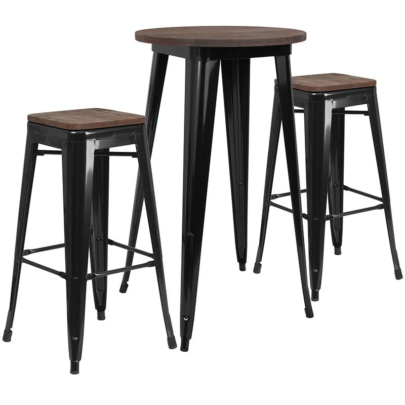 "24"" Round Black Metal Bar Table Set with Wood Top and 2 Backless Stools. Picture 1"