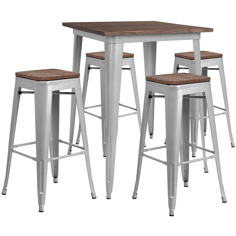 """31.5"""" Square Silver Metal Bar Table Set with Wood Top and 4 Backless Stools. Picture 1"""