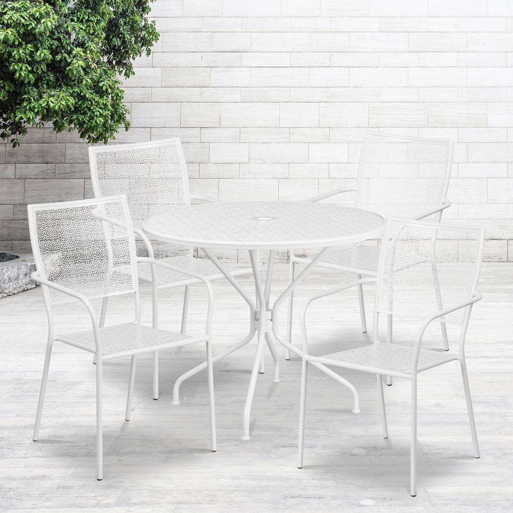 White Indoor Outdoor Steel Patio