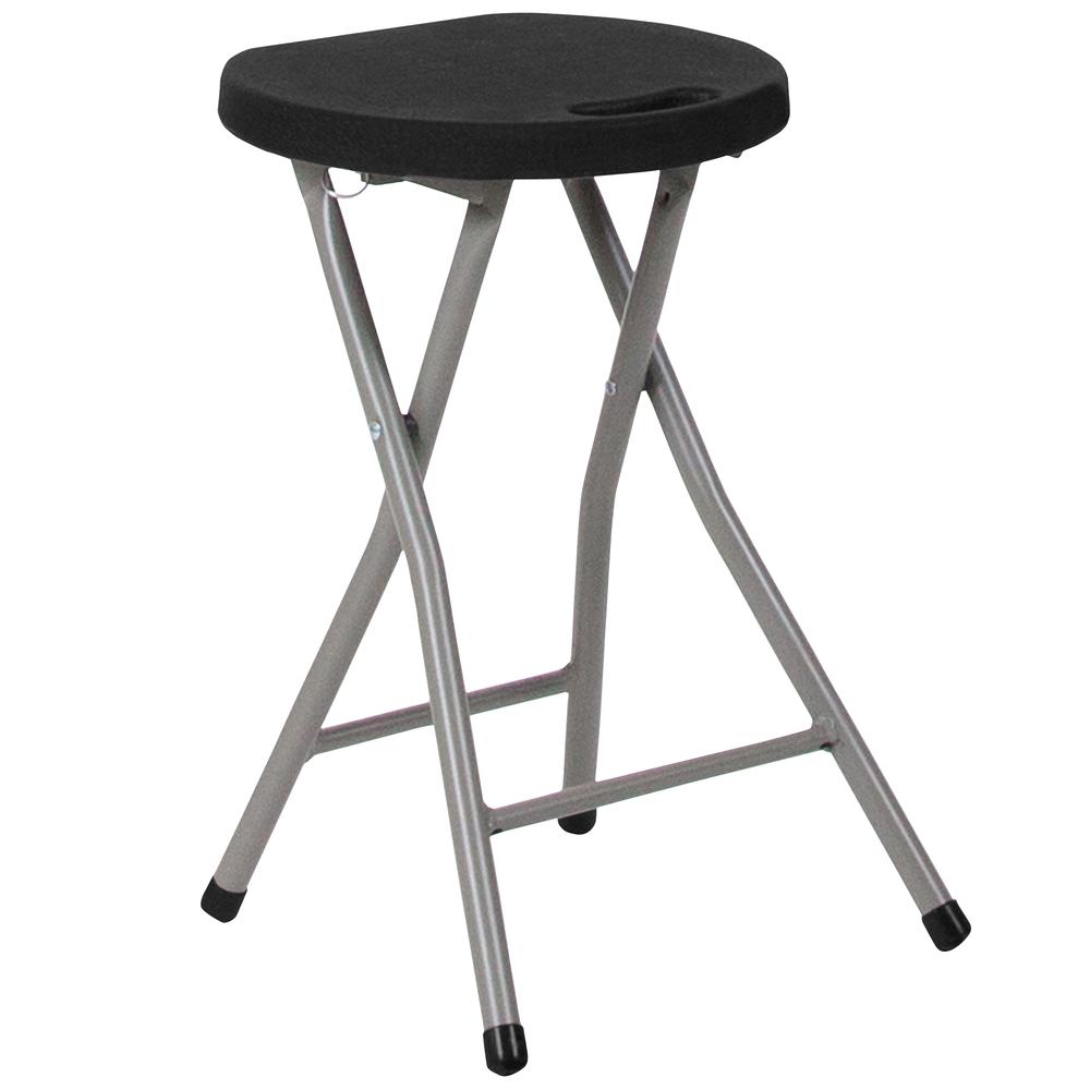 Foldable Stool with Black Plastic Seat and Titanium Gray Frame. Picture 8