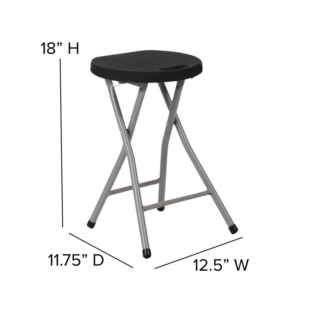 Foldable Stool with Black Plastic Seat and Titanium Gray Frame. Picture 9