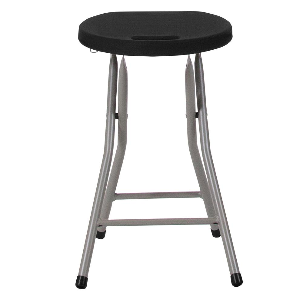 Foldable Stool with Black Plastic Seat and Titanium Gray Frame. Picture 10