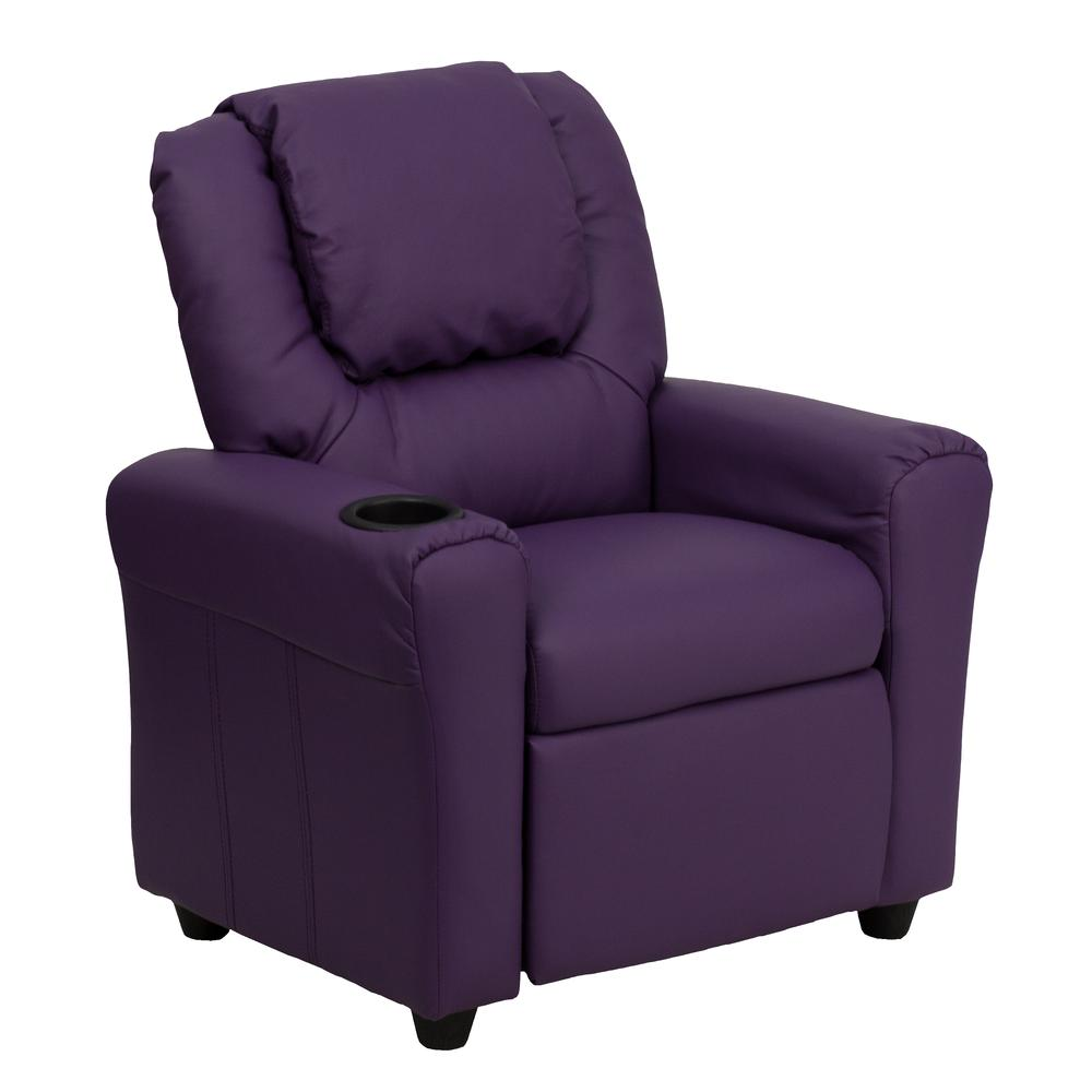 Contemporary Purple Vinyl Kids Recliner with Cup Holder and Headrest. Picture 1