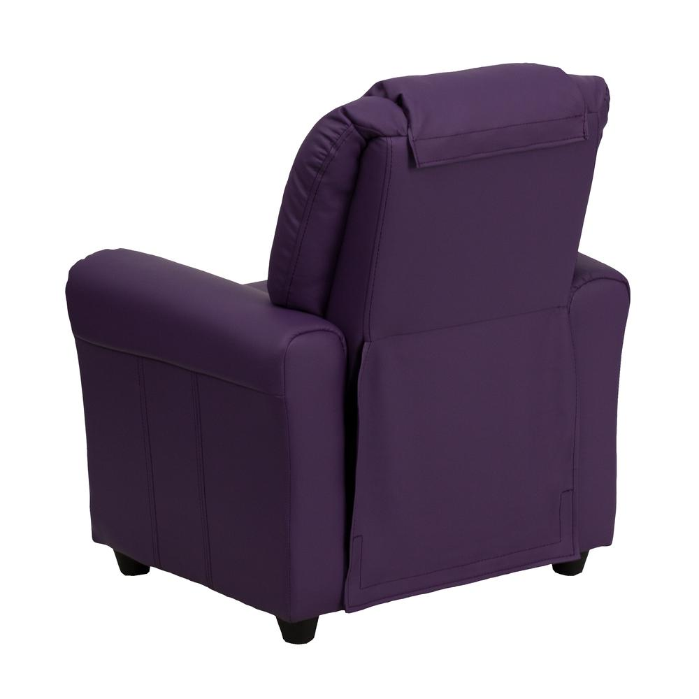 Contemporary Purple Vinyl Kids Recliner with Cup Holder and Headrest. Picture 3