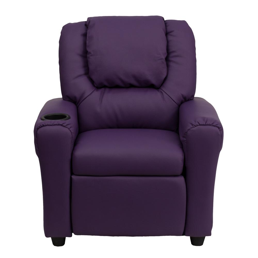 Contemporary Purple Vinyl Kids Recliner with Cup Holder and Headrest. Picture 4