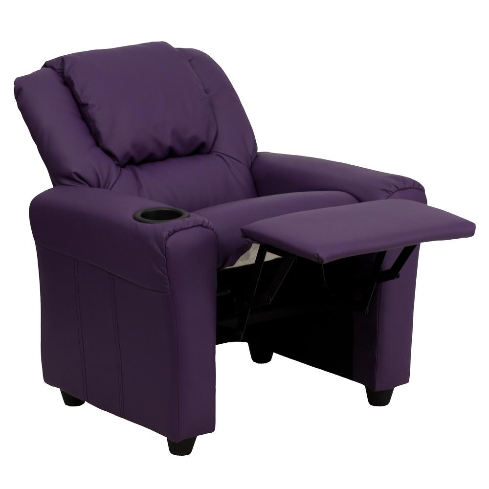 Contemporary Purple Vinyl Kids Recliner with Cup Holder and Headrest. Picture 5