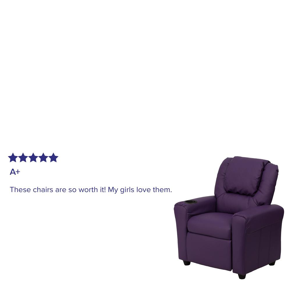 Contemporary Purple Vinyl Kids Recliner with Cup Holder and Headrest. Picture 6