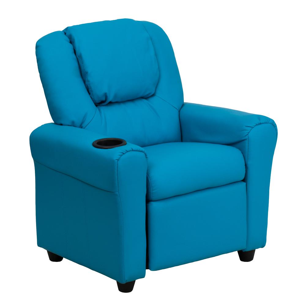 Contemporary Turquoise Vinyl Kids Recliner with Cup Holder and Headrest. Picture 1