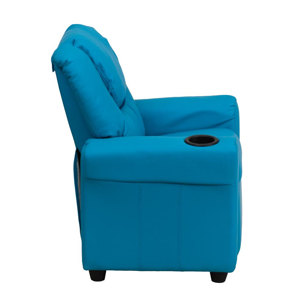 Contemporary Turquoise Vinyl Kids Recliner with Cup Holder and Headrest. Picture 2