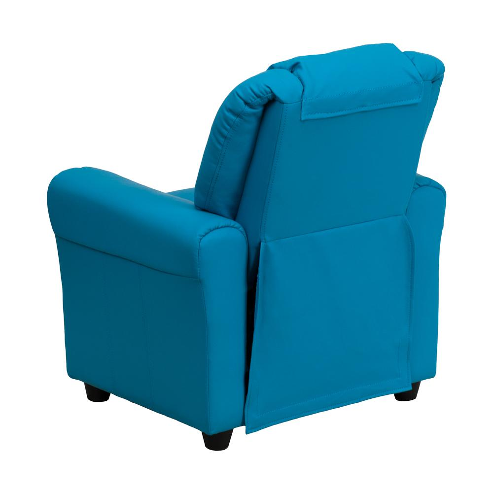 Contemporary Turquoise Vinyl Kids Recliner with Cup Holder and Headrest. Picture 3