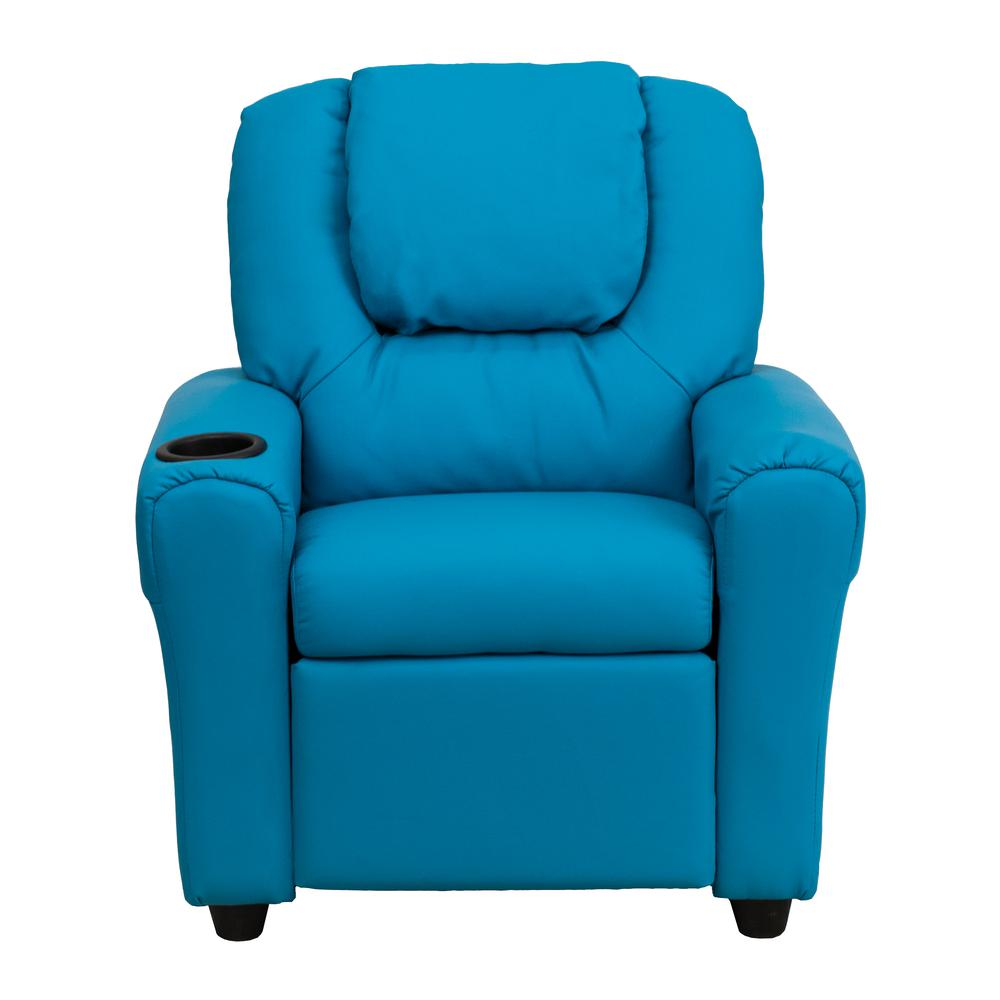 Contemporary Turquoise Vinyl Kids Recliner with Cup Holder and Headrest. Picture 4