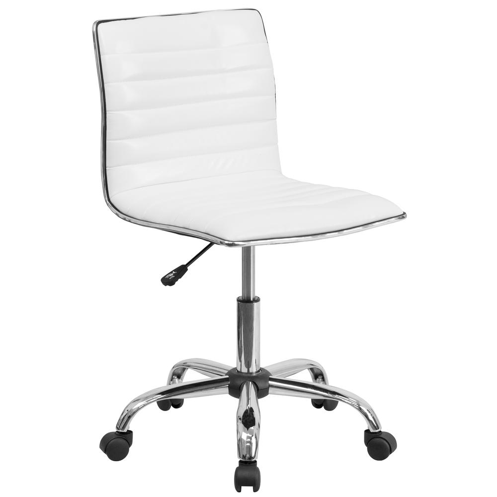 Low Back Designer Armless White Ribbed Swivel Task Office Chair. Picture 1