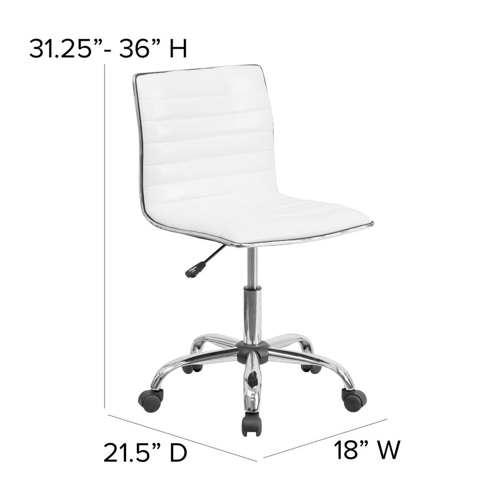 Low Back Designer Armless White Ribbed Swivel Task Office Chair. Picture 2